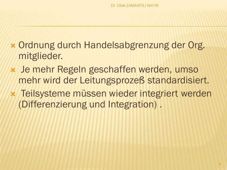 Dr. Dilek ZAMANTILI NAYIR 4 Ordnung durch Handelsabgrenzung der Org. mitglieder. Je mehr Regeln geschaffen werden, umso mehr wird der Leitungsprozeß s