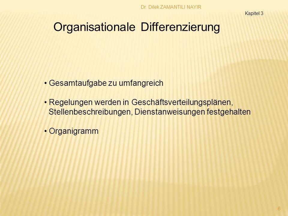 Dr. Dilek ZAMANTILI NAYIR 6 Organisationale Differenzierung Gesamtaufgabe zu umfangreich Regelungen werden in Geschäftsverteilungsplänen, Stellenbesch