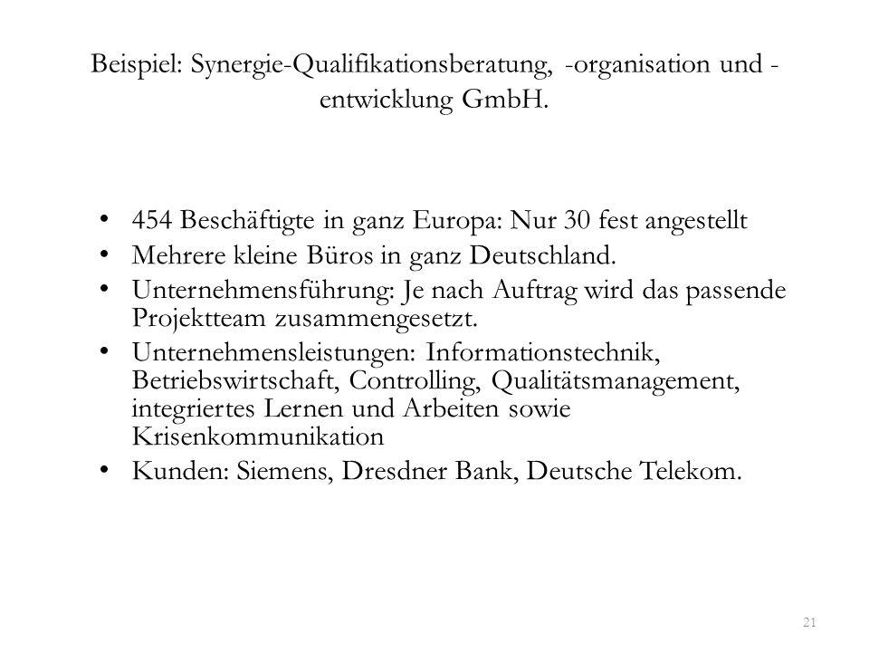 Beispiel: Synergie-Qualifikationsberatung, -organisation und - entwicklung GmbH. 454 Beschäftigte in ganz Europa: Nur 30 fest angestellt Mehrere klein