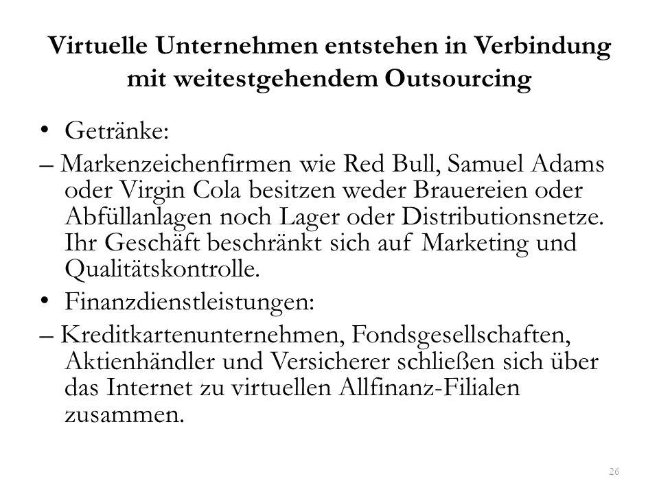 Virtuelle Unternehmen entstehen in Verbindung mit weitestgehendem Outsourcing Getränke: – Markenzeichenfirmen wie Red Bull, Samuel Adams oder Virgin C