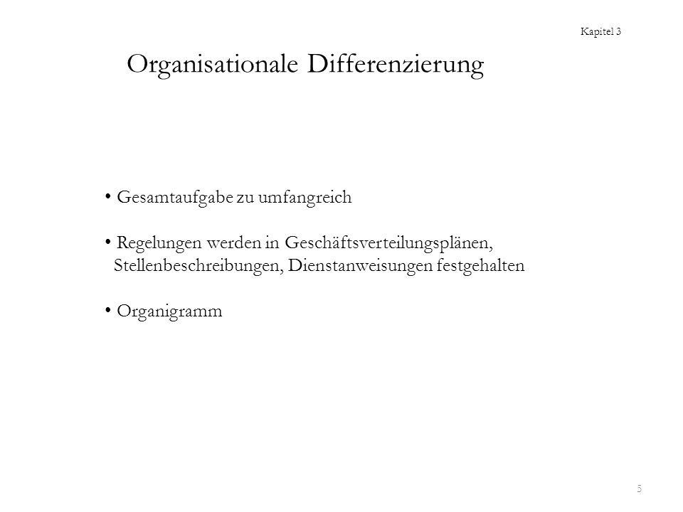 5 Organisationale Differenzierung Gesamtaufgabe zu umfangreich Regelungen werden in Geschäftsverteilungsplänen, Stellenbeschreibungen, Dienstanweisung