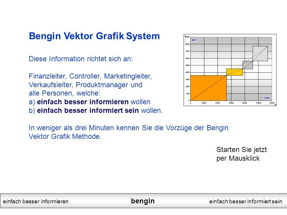 Bengin Vektor Grafik System Diese Information richtet sich an: Finanzleiter, Controller, Marketingleiter, Verkaufsleiter, Produktmanager und alle Pers