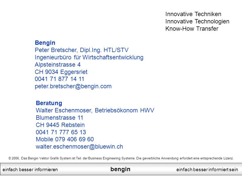 einfach besser informieren bengin einfach besser informiert sein Beratung Walter Eschenmoser, Betriebsökonom HWV Blumenstrasse 11 CH 9445 Rebstein 004