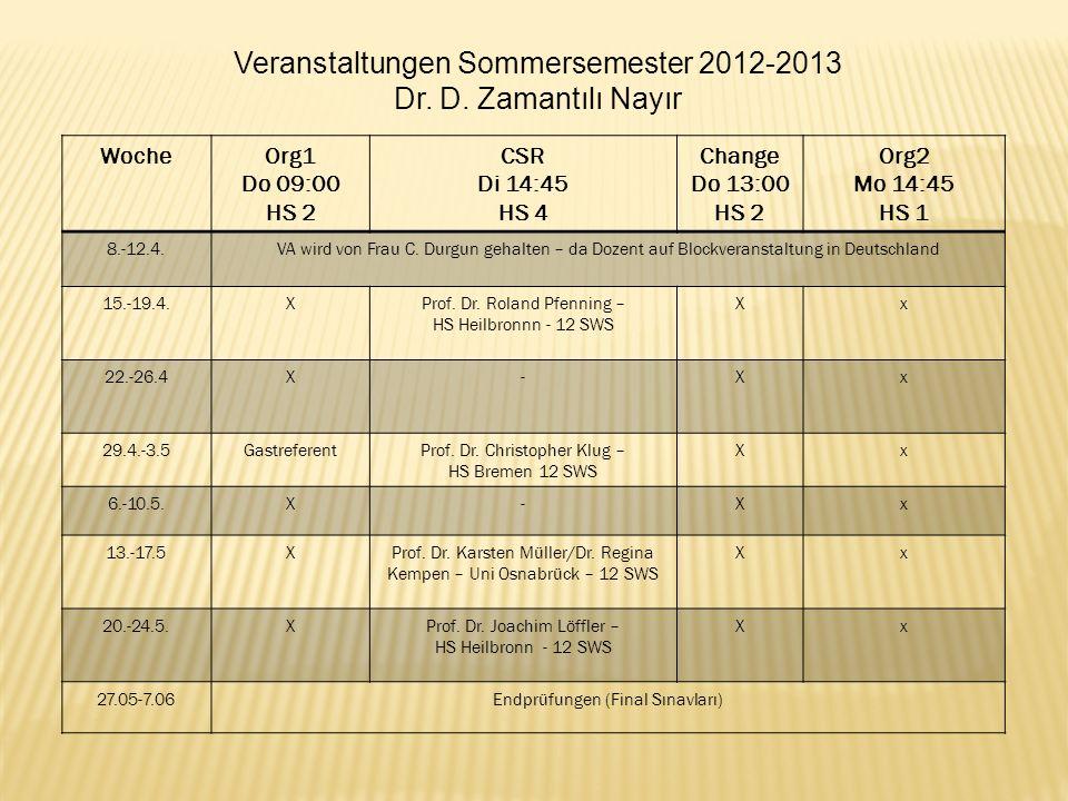 WocheOrg1 Do 09:00 HS 2 CSR Di 14:45 HS 4 Change Do 13:00 HS 2 Org2 Mo 14:45 HS 1 8.-12.4.VA wird von Frau C. Durgun gehalten – da Dozent auf Blockver