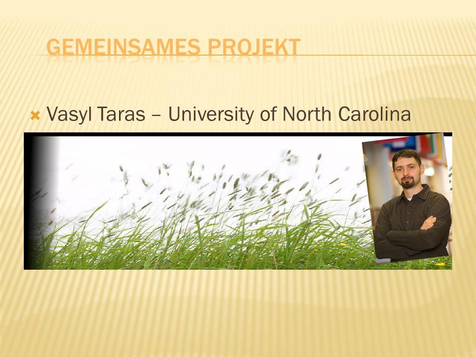 Vasyl Taras – University of North Carolina