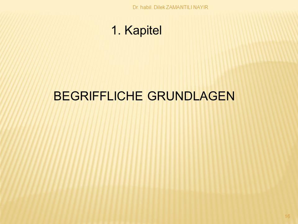 Dr. habil. Dilek ZAMANTILI NAYIR 16 1. Kapitel BEGRIFFLICHE GRUNDLAGEN
