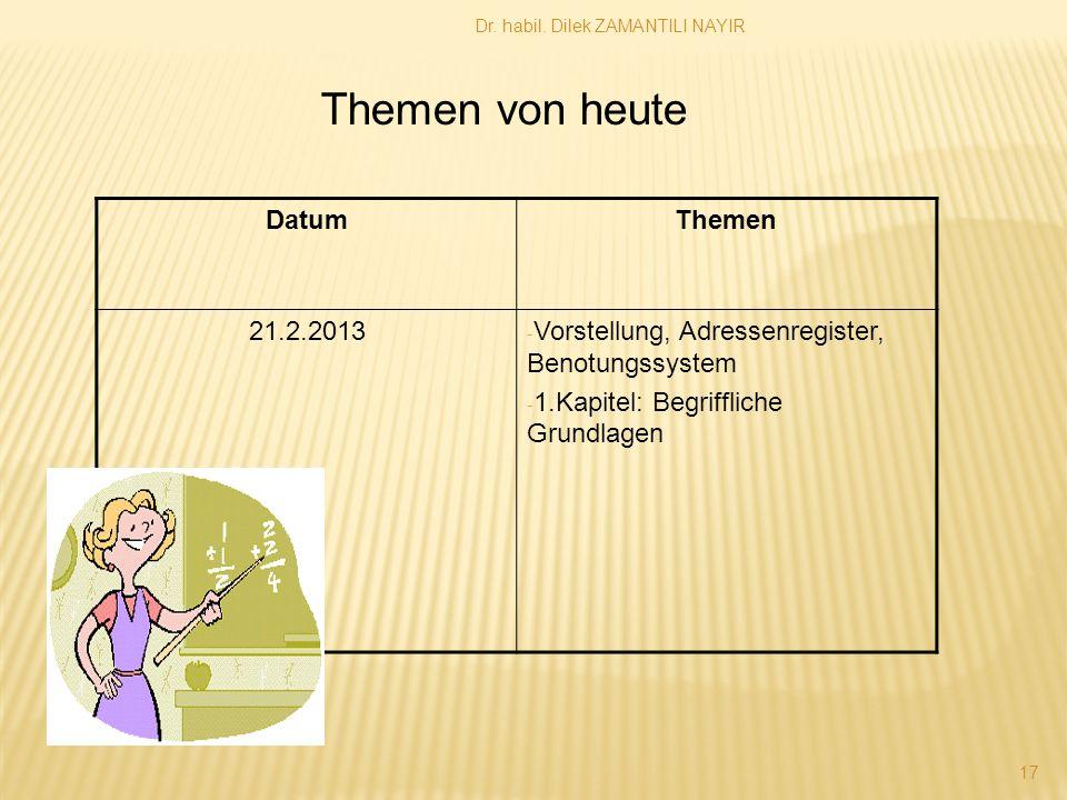 Dr. habil. Dilek ZAMANTILI NAYIR 17 DatumThemen 21.2.2013 - Vorstellung, Adressenregister, Benotungssystem - 1.Kapitel: Begriffliche Grundlagen Themen