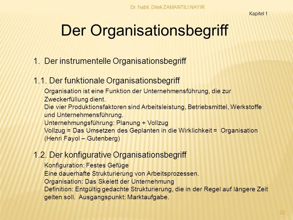 Dr. habil. Dilek ZAMANTILI NAYIR 22 1.Der instrumentelle Organisationsbegriff 1.1. Der funktionale Organisationsbegriff Organisation ist eine Funktion