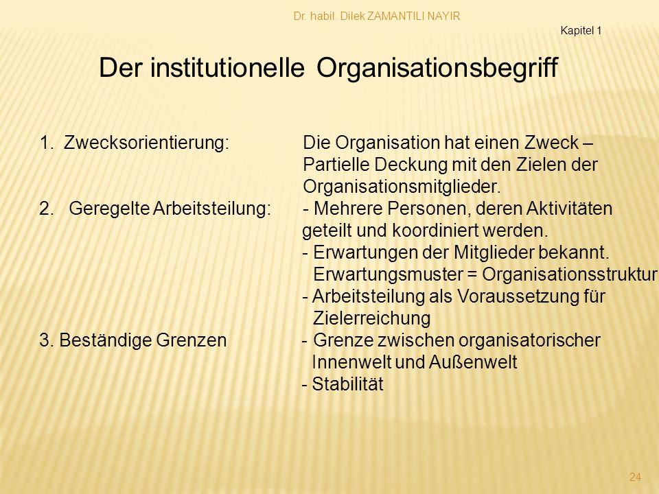 Dr. habil. Dilek ZAMANTILI NAYIR 24 1.Zwecksorientierung:Die Organisation hat einen Zweck – Partielle Deckung mit den Zielen der Organisationsmitglied