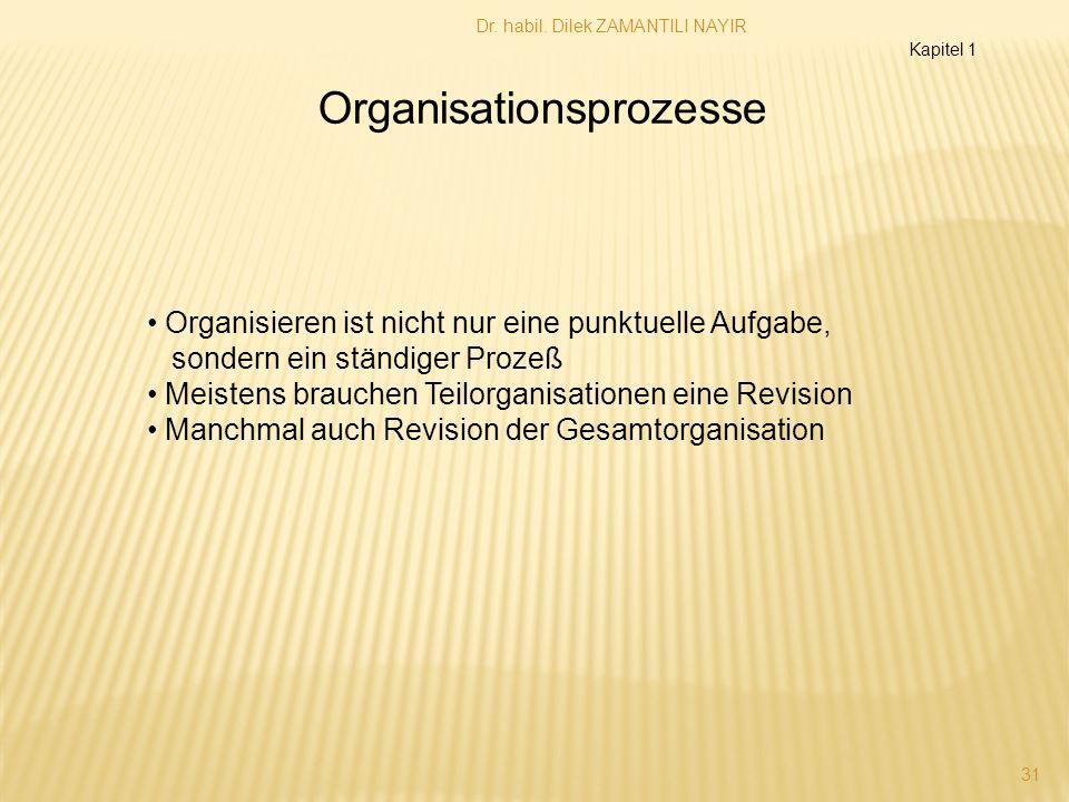 Dr. habil. Dilek ZAMANTILI NAYIR 31 Organisationsprozesse Kapitel 1 Organisieren ist nicht nur eine punktuelle Aufgabe, sondern ein ständiger Prozeß M