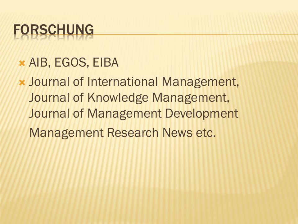 AIB, EGOS, EIBA Journal of International Management, Journal of Knowledge Management, Journal of Management Development Management Research News etc.