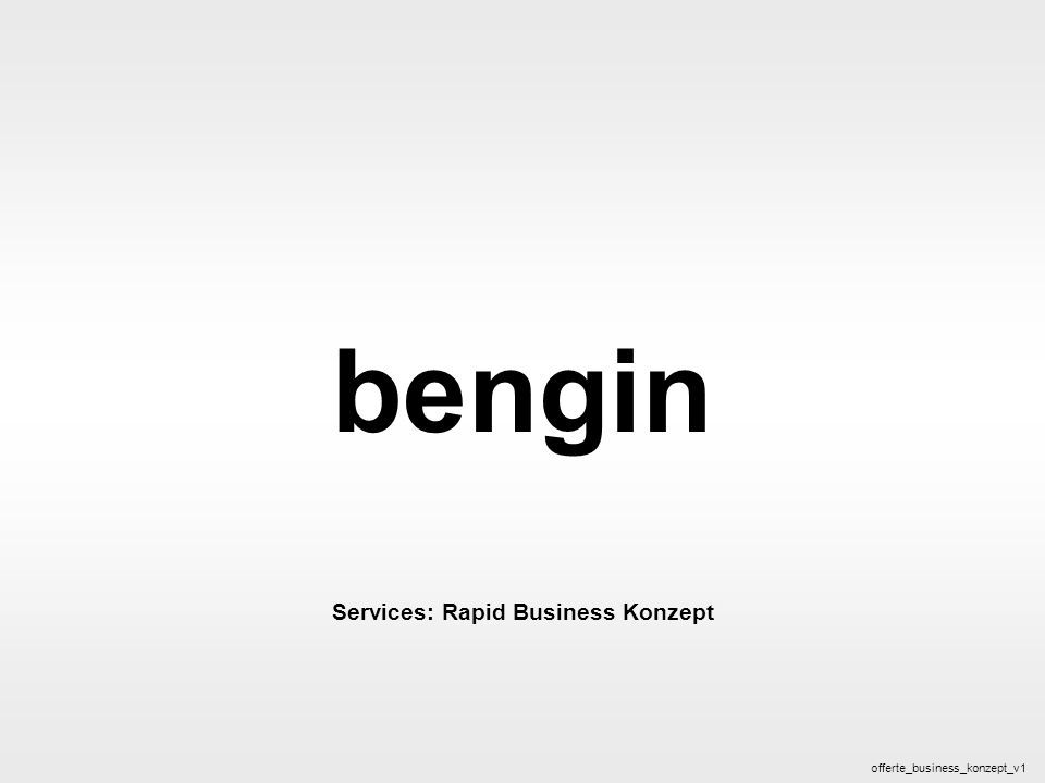 bengin 1 © 2005 bengin.com Business Konzept bengin Services: Rapid Business Konzept offerte_business_konzept_v1
