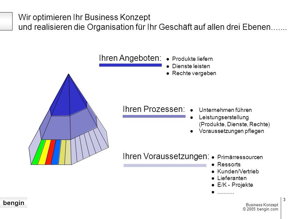 bengin 3 © 2005 bengin.com Business Konzept Wir optimieren Ihr Business Konzept und realisieren die Organisation für Ihr Geschäft auf allen drei Ebenen.......