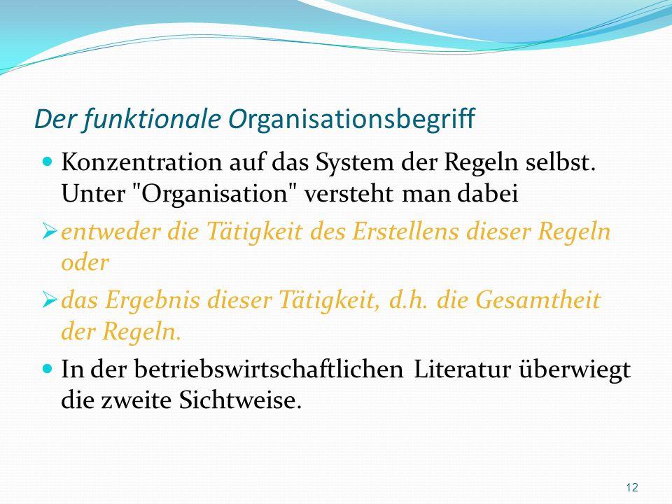 Der funktionale Organisationsbegriff Konzentration auf das System der Regeln selbst. Unter