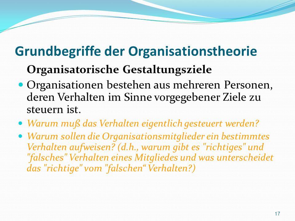 Grundbegriffe der Organisationstheorie Organisatorische Gestaltungsziele Organisationen bestehen aus mehreren Personen, deren Verhalten im Sinne vorge