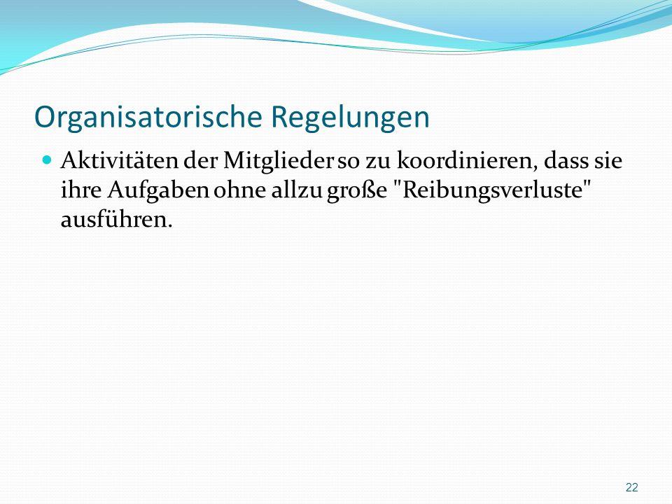Organisatorische Regelungen Aktivitäten der Mitglieder so zu koordinieren, dass sie ihre Aufgaben ohne allzu große