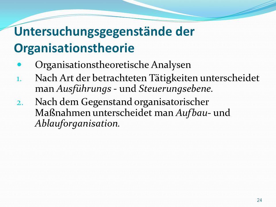 Untersuchungsgegenstände der Organisationstheorie Organisationstheoretische Analysen 1. Nach Art der betrachteten Tätigkeiten unterscheidet man Ausfüh
