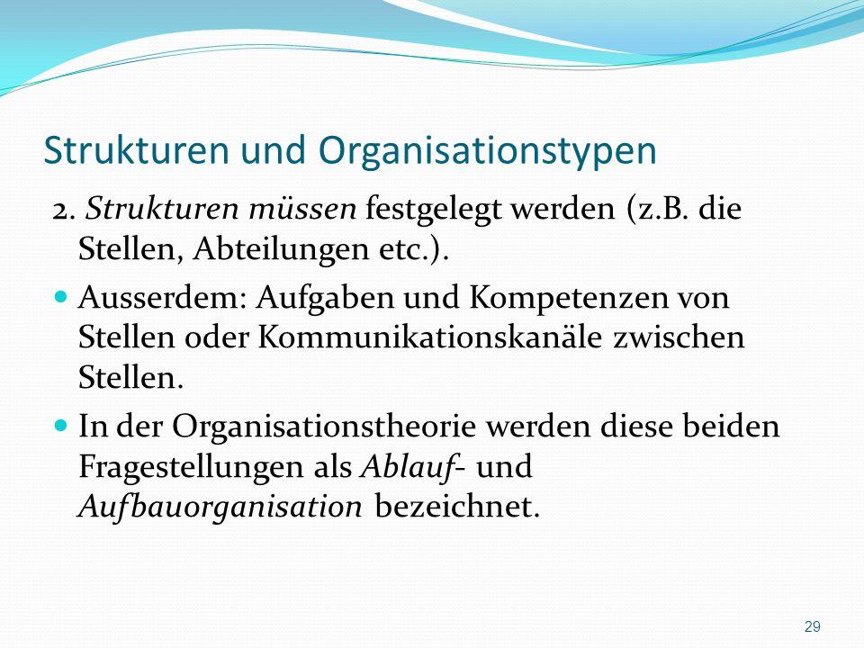 Strukturen und Organisationstypen 2. Strukturen müssen festgelegt werden (z.B. die Stellen, Abteilungen etc.). Ausserdem: Aufgaben und Kompetenzen von
