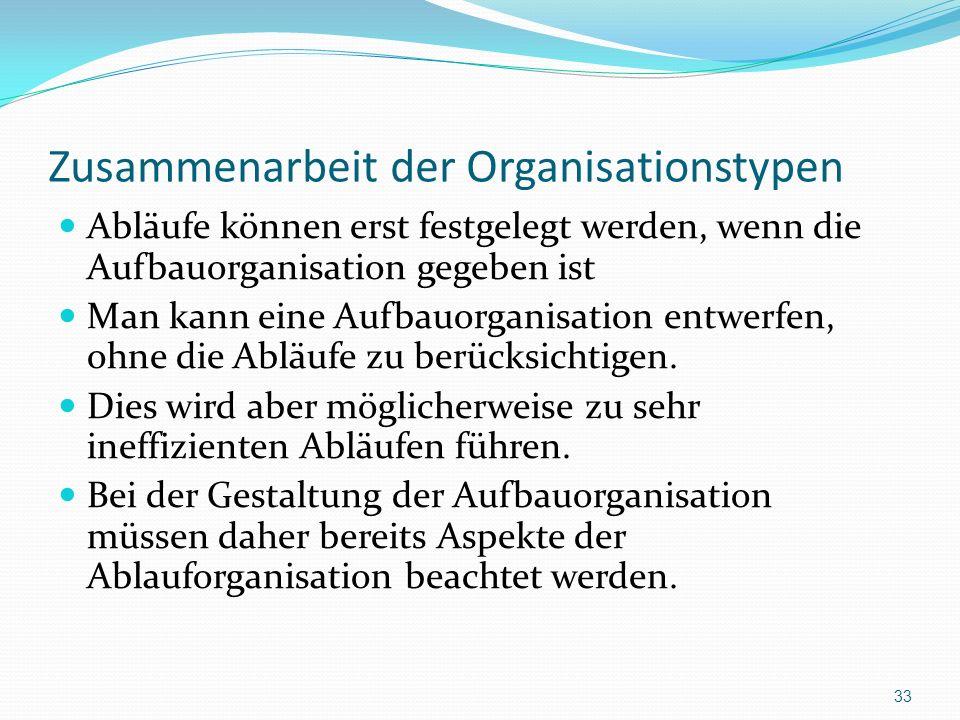 Zusammenarbeit der Organisationstypen Abläufe können erst festgelegt werden, wenn die Aufbauorganisation gegeben ist Man kann eine Aufbauorganisation