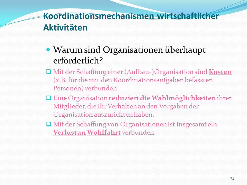 Koordinationsmechanismen wirtschaftlicher Aktivitäten Warum sind Organisationen überhaupt erforderlich? Mit der Schaffung einer (Aufbau-)Organisation