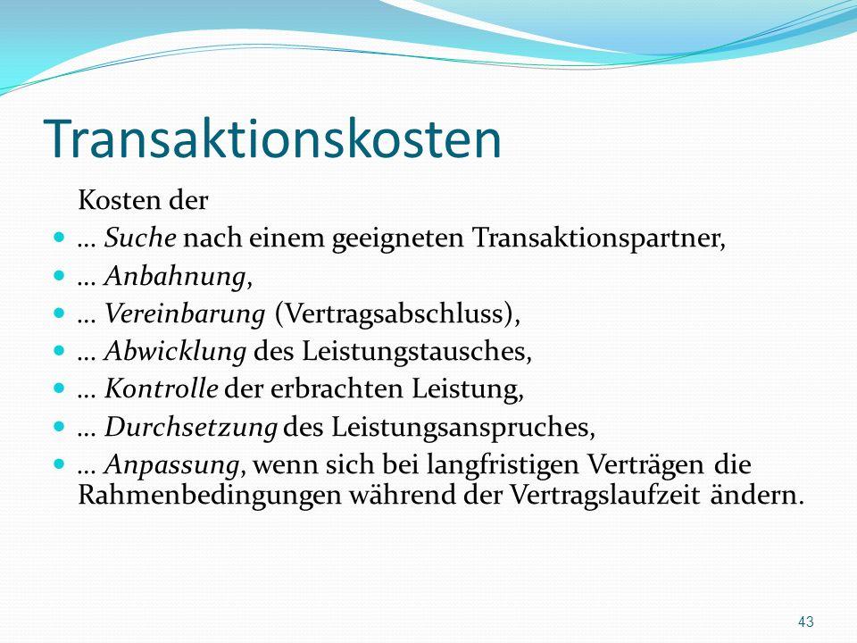 Transaktionskosten Kosten der … Suche nach einem geeigneten Transaktionspartner, … Anbahnung, … Vereinbarung (Vertragsabschluss), … Abwicklung des Lei