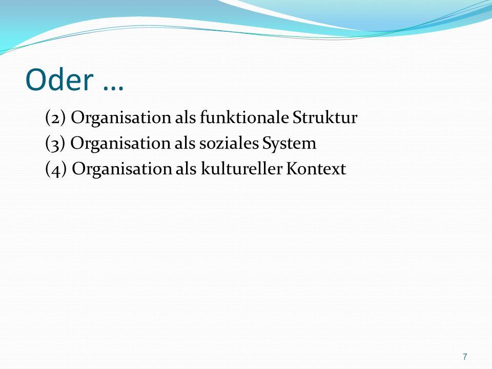 Oder … (2) Organisation als funktionale Struktur (3) Organisation als soziales System (4) Organisation als kultureller Kontext 7