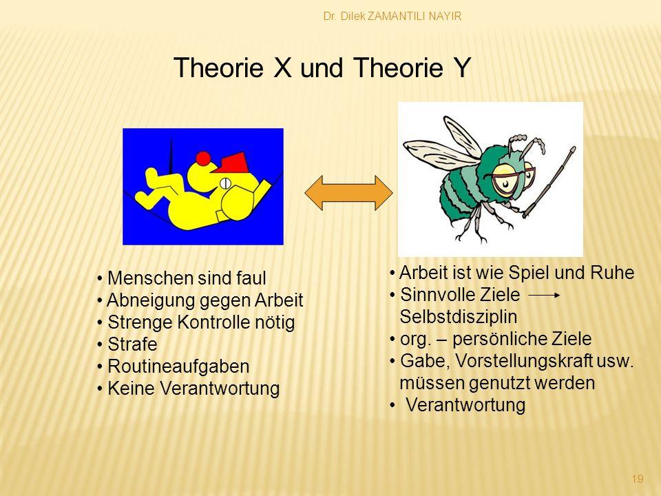 Dr. Dilek ZAMANTILI NAYIR 19 Theorie X und Theorie Y Menschen sind faul Abneigung gegen Arbeit Strenge Kontrolle nötig Strafe Routineaufgaben Keine Ve