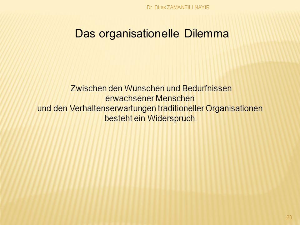 Dr. Dilek ZAMANTILI NAYIR 23 Das organisationelle Dilemma Zwischen den Wünschen und Bedürfnissen erwachsener Menschen und den Verhaltenserwartungen tr