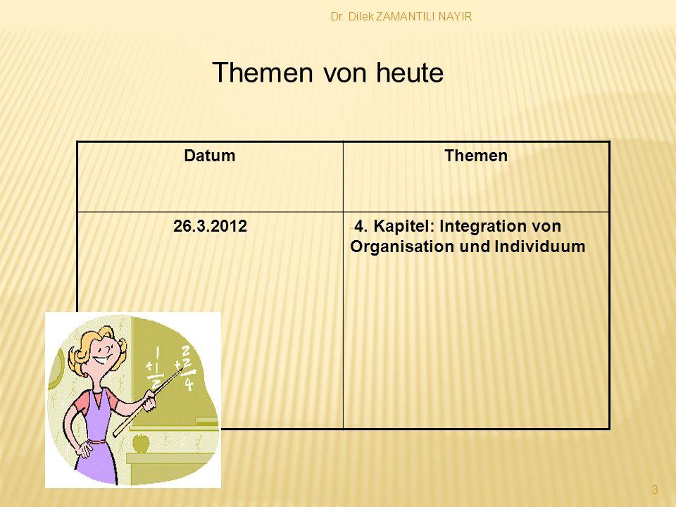 Dr. Dilek ZAMANTILI NAYIR 3 DatumThemen 26.3.2012 - 4. Kapitel: Integration von Organisation und Individuum Themen von heute