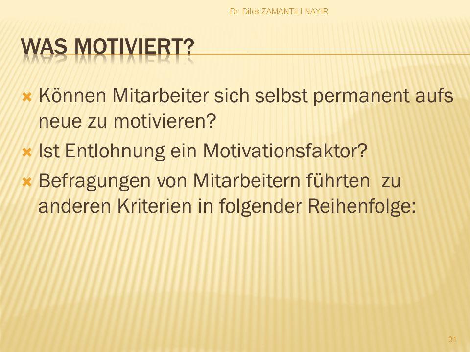 Dr. Dilek ZAMANTILI NAYIR 31 Können Mitarbeiter sich selbst permanent aufs neue zu motivieren? Ist Entlohnung ein Motivationsfaktor? Befragungen von M