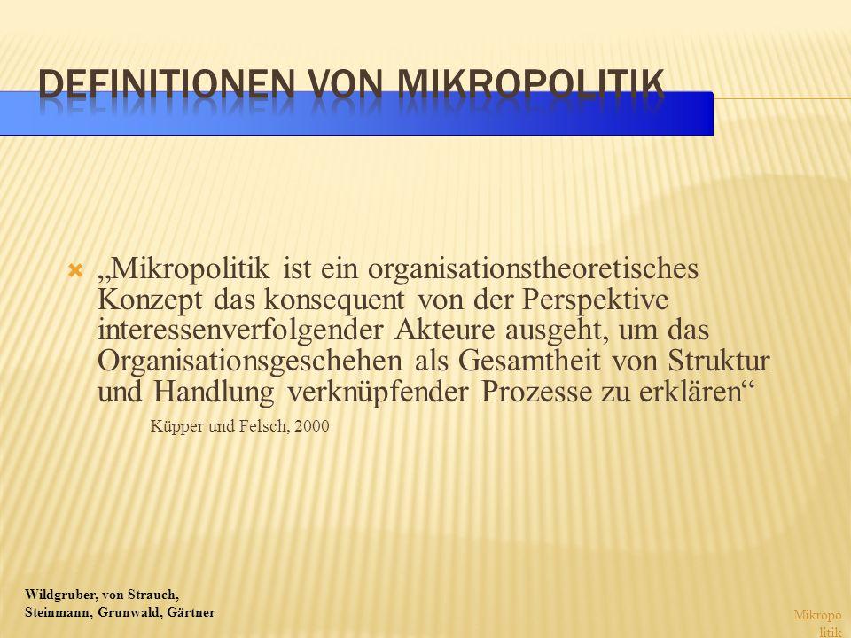 Wildgruber, von Strauch, Steinmann, Grunwald, Gärtner Mikropolitik ist ein organisationstheoretisches Konzept das konsequent von der Perspektive inter
