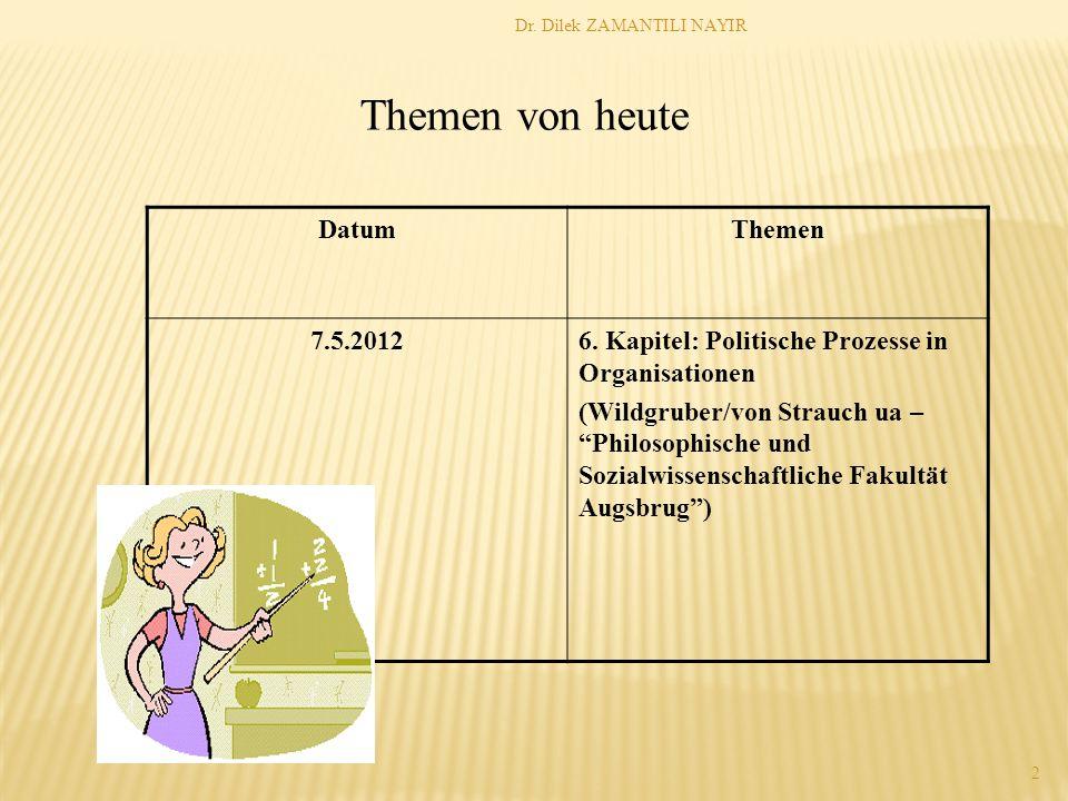 Dr. Dilek ZAMANTILI NAYIR 2 DatumThemen 7.5.20126. Kapitel: Politische Prozesse in Organisationen (Wildgruber/von Strauch ua – Philosophische und Sozi