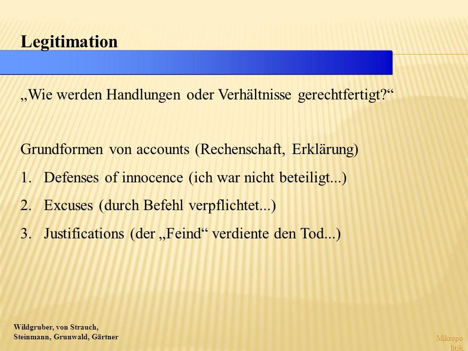 Wildgruber, von Strauch, Steinmann, Grunwald, Gärtner Mikropo litik Legitimation Wie werden Handlungen oder Verhältnisse gerechtfertigt? Grundformen v