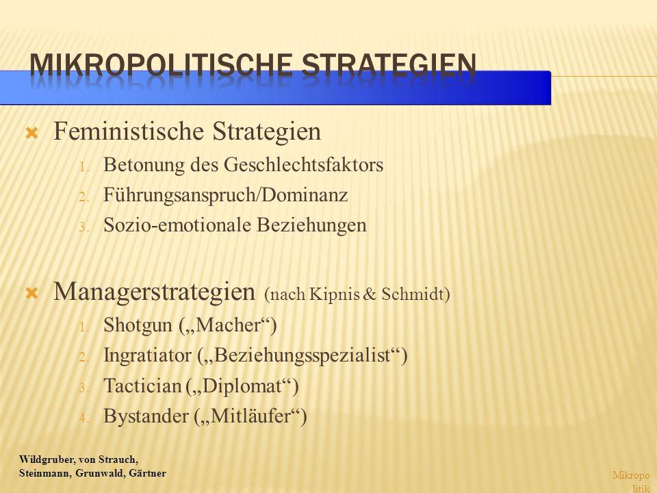 Wildgruber, von Strauch, Steinmann, Grunwald, Gärtner Feministische Strategien 1. Betonung des Geschlechtsfaktors 2. Führungsanspruch/Dominanz 3. Sozi