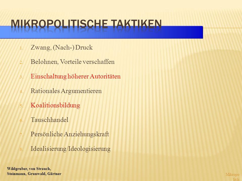 Wildgruber, von Strauch, Steinmann, Grunwald, Gärtner 1. Zwang, (Nach-) Druck 2. Belohnen, Vorteile verschaffen 3. Einschaltung höherer Autoritäten 4.