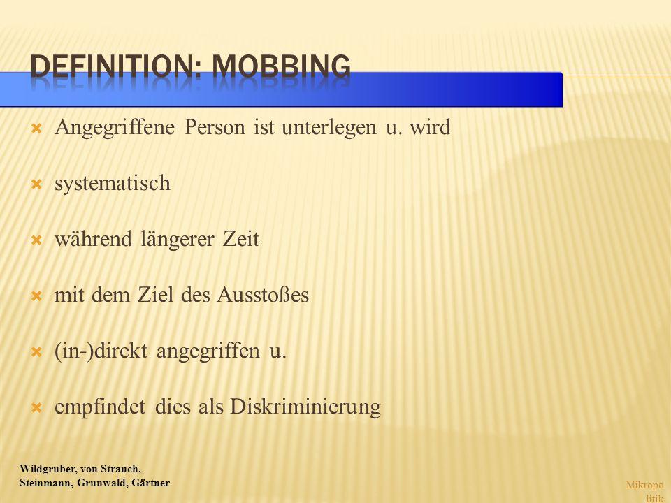 Wildgruber, von Strauch, Steinmann, Grunwald, Gärtner Angegriffene Person ist unterlegen u. wird systematisch während längerer Zeit mit dem Ziel des A