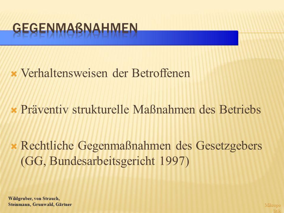 Wildgruber, von Strauch, Steinmann, Grunwald, Gärtner Verhaltensweisen der Betroffenen Präventiv strukturelle Maßnahmen des Betriebs Rechtliche Gegenm
