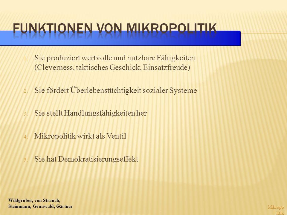 Wildgruber, von Strauch, Steinmann, Grunwald, Gärtner 1. Sie produziert wertvolle und nutzbare Fähigkeiten (Cleverness, taktisches Geschick, Einsatzfr
