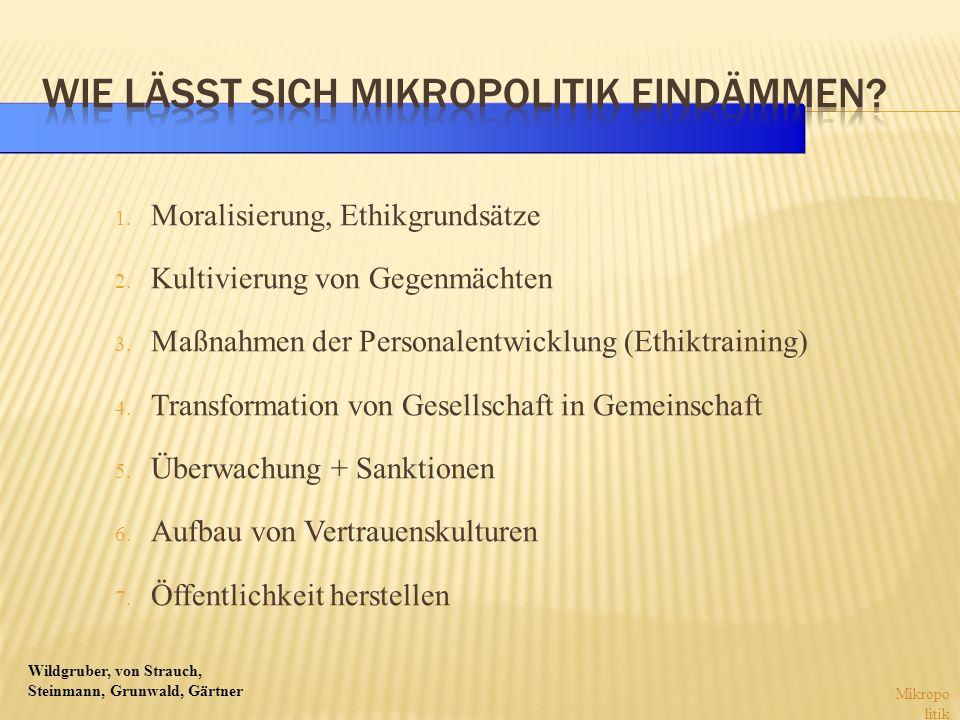 Wildgruber, von Strauch, Steinmann, Grunwald, Gärtner 1. Moralisierung, Ethikgrundsätze 2. Kultivierung von Gegenmächten 3. Maßnahmen der Personalentw