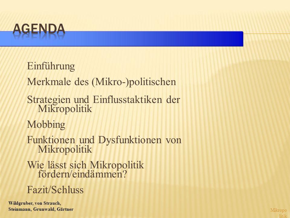 Wildgruber, von Strauch, Steinmann, Grunwald, Gärtner Einführung Merkmale des (Mikro-)politischen Strategien und Einflusstaktiken der Mikropolitik Mobbing Funktionen und Dysfunktionen von Mikropolitik Wie lässt sich Mikropolitik fördern/eindämmen.