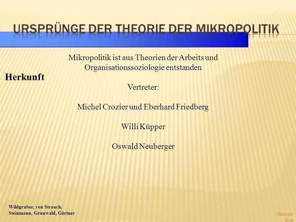 Wildgruber, von Strauch, Steinmann, Grunwald, Gärtner Mikropo litik Mikropolitik ist aus Theorien der Arbeits und Organisationssoziologie entstanden V