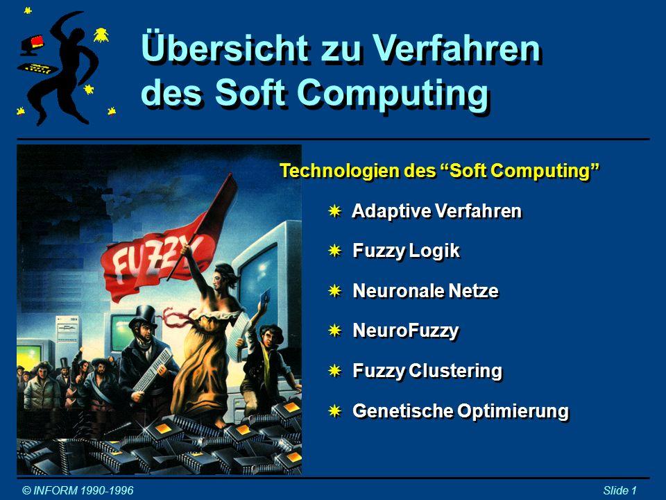 Entwicklung intelligenter Technologien © INFORM 1990-1996Slide 2 1940 1950 1960 1970 1980 1990 2000 Künstliche Intelligenz Lernende Systeme Operations Research Künstliche Neuron.