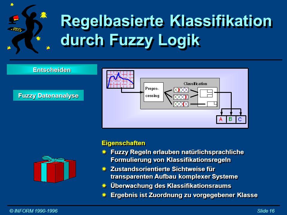 Eigenschaften XKlassifikation wird durch repräsentative Beispiele trainiert XDurch Interpolation Funktion im gesamten Zustandsraum XErgebnis ist Zuordnung zu vorgegebener Klasse Eigenschaften XKlassifikation wird durch repräsentative Beispiele trainiert XDurch Interpolation Funktion im gesamten Zustandsraum XErgebnis ist Zuordnung zu vorgegebener Klasse Klassifikation durch künstliche neuronale Netze © INFORM 1990-1996Slide 17 NeuroFuzzy KNN EntscheidenEntscheiden
