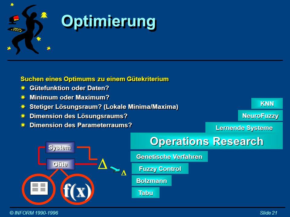 Optimierung durch Genetische Verfahren © INFORM 1990-1996Slide 22 Parameter System Mutation Optimierung durch XMutation: Veränderung der Parameter Optimierung durch XMutation: Veränderung der Parameter XSelektion der besten Lösung(en) Selektion System