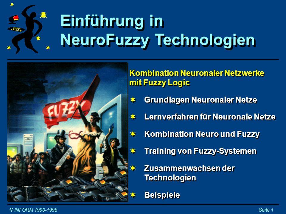 Neuronale Netze: - Neuronenmodel - Neuronale Netze: - Neuronenmodel - © INFORM 1990-1998Seite 2 Mehrere Eingänge, ein Ausgang Das Ausgangssignal entspricht dem Aktivierungsniveau des Neurons Die Eingänge eines Neurons sind die Ausgänge anderer Neuronen Eingänge an erregenden Synapsen erhöhen das Aktivierungsniveau Eingänge an hemmenden Synapsen vermindern das Aktivierungsniveau Mehrere Eingänge, ein Ausgang Das Ausgangssignal entspricht dem Aktivierungsniveau des Neurons Die Eingänge eines Neurons sind die Ausgänge anderer Neuronen Eingänge an erregenden Synapsen erhöhen das Aktivierungsniveau Eingänge an hemmenden Synapsen vermindern das Aktivierungsniveau Axon : Erregende Synapsen : Hemmende Synapsen WARNUNG: Dieses Neuronenmodell ist eine starte Vereinfachung von Mutter Natur