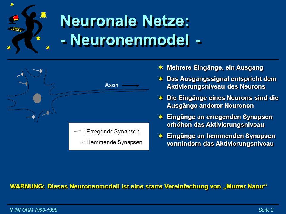 Neuronale Netze: - Neuronenmodel - Neuronale Netze: - Neuronenmodel - © INFORM 1990-1998Seite 2 Mehrere Eingänge, ein Ausgang Das Ausgangssignal entsp