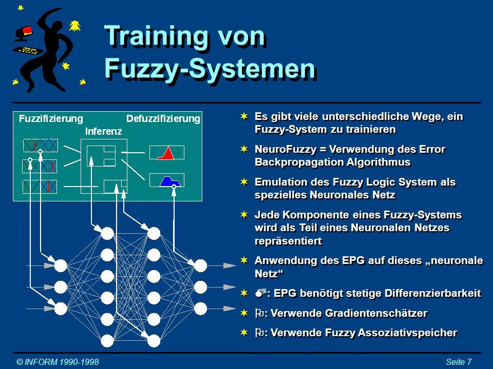 Es gibt viele unterschiedliche Wege, ein Fuzzy-System zu trainieren NeuroFuzzy = Verwendung des Error Backpropagation Algorithmus Emulation des Fuzzy