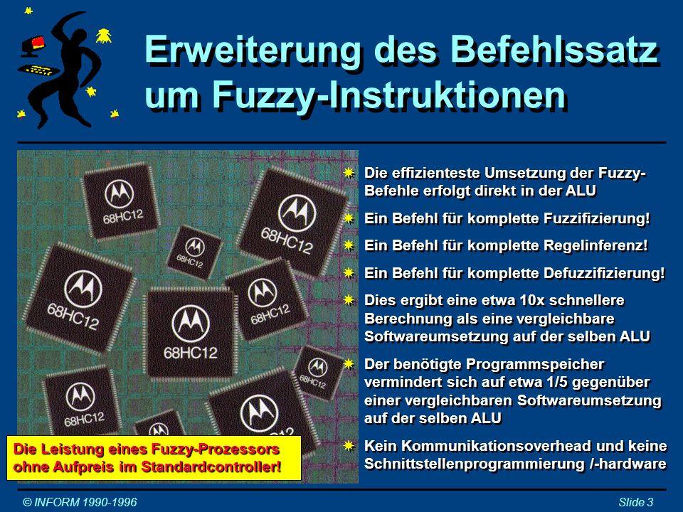 MOTOROLA 68HC12 © INFORM 1990-1996Slide 4 TimerSPI SCI 1K RAM4K EEPROMATD LIMALU MXSBDMINTMMI WCRKWUEBICDL ROC MC68HC812A4 Die Integration des Fuzzy-Befehlssatzes in der ALU des Microcontrollers benötigt nur minimale zusätzliche Siliziumfläche (~1%).