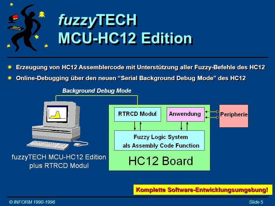Demonstrationsmodell Kettenfahrzeug © INFORM 1990-1996Slide 6 Nur 5 Fuzzy-Regeln steuern das Fahrzeug!