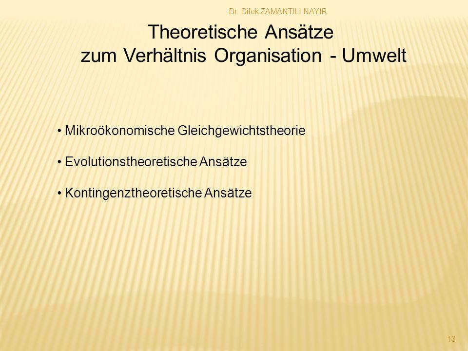 Dr. Dilek ZAMANTILI NAYIR 13 Theoretische Ansätze zum Verhältnis Organisation - Umwelt Mikroökonomische Gleichgewichtstheorie Evolutionstheoretische A